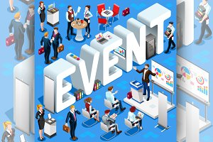 Event Isometric People Icon 3D Set