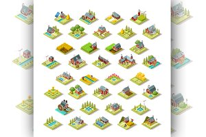 Isometric Building City Map Farm Ico