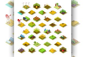 Isometric Building Farm 3D Icon Set