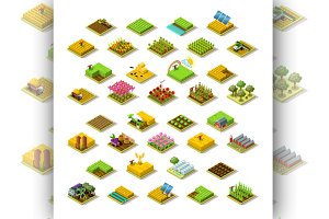 Isometric Farm 3D Building Icon Set