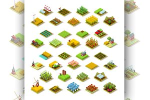 Isometric Farm Building 3D Icon Set