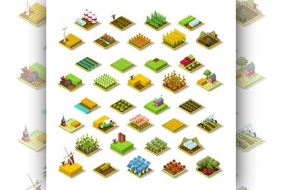 Isometric Farm Building 3D Icon Set