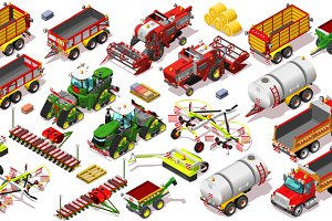 Isometric Farm Vehicle 3D Icon Set