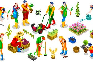 Isometric Farmer 3D People Icon Set
