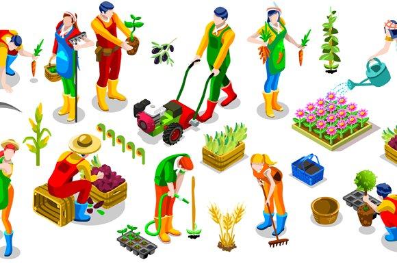 Isometric Farmer 3D People Icon Set