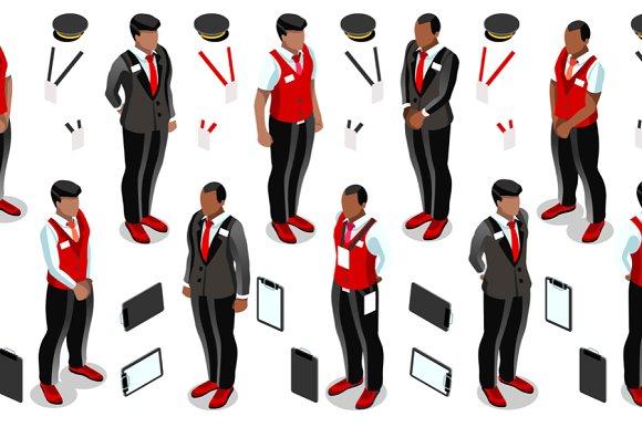 Isometric Hotel Reception Icon Set