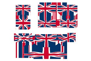 10 Great Britain Flags, vector
