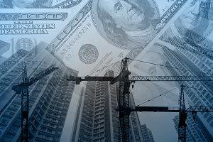 Construction crane and city