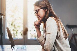 Student girl using laptop