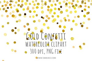 Watercolor Clipart, Gold