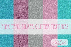 Pink Teal Silver Glitter Textures