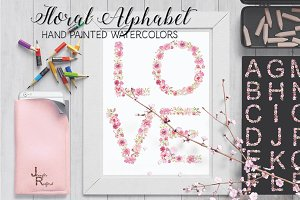 Pink floral alphabet in watercolors