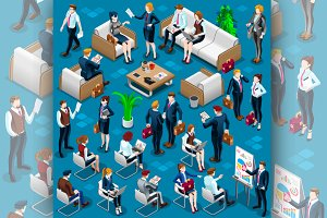 Isometric People Meeting Staff 3D