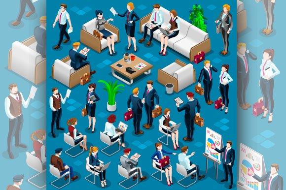 Isometric People Meeting Staff 3D