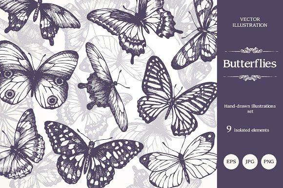 Hand Drawn Sketch Butterflies Set