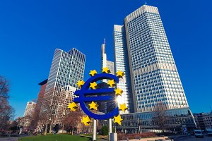 Euro sign in Frankfurt am Main, Germany