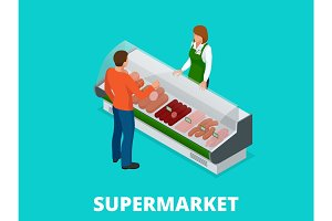 Man chooses sausages in the store. Sausages and fresh meat in shop showcase isometric vector illustration. Meat products on supermarket shelves.