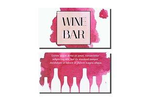 Wine bar, shop business card. eps