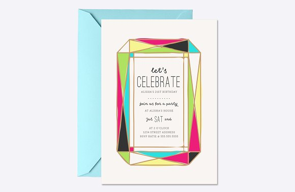 Bright Gem Party Invite Template
