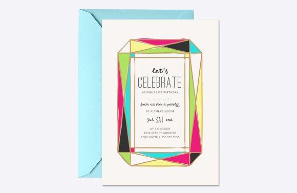 Bright Gem Party Invite Template
