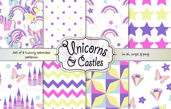 Unicorns And Castles Pattern Set