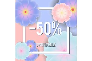 Spring sale banner design template