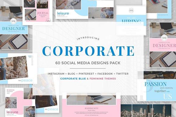 Corporate social media pack social media templates creative market maxwellsz