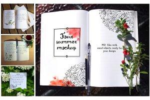 Notepad Mockup, summer style,