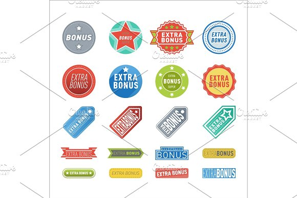 Super Extra Bonus Banners Text In Color Drawn Labels Business Shopping Concept Vector Internet Promotion Shopping Vector