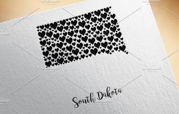 South Dakota Map With Hearts