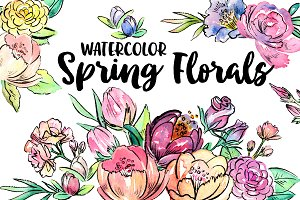 Watercolor Spring Florals Clipart