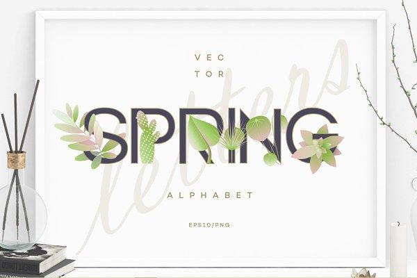Symbol Fonts: Polar Vectors - Spring alphabet letters