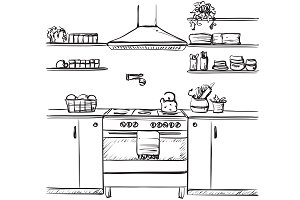 Kitchen sketching interior