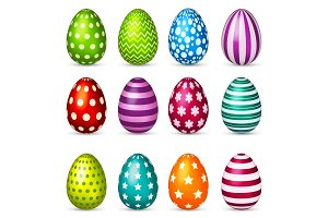 Easter eggs set. Spring. Holidays in April. Gift. Seasonal celebration.