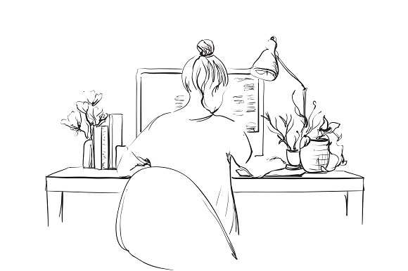 Sketch Of Girl At The Computer