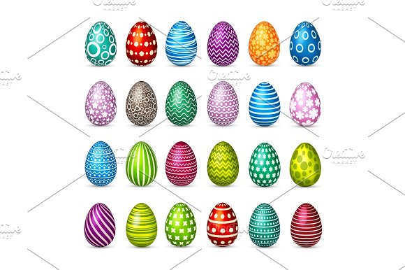 Easter Eggs Set Spring Holidays In April Gift Seasonal Celebration