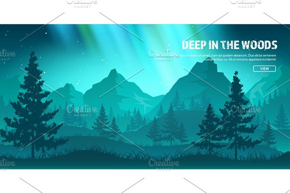 Mountains And Forest Wild Nature Landscape Travel And Adventure.Panorama Into The Woods Horizon Line.Trees Fogfog