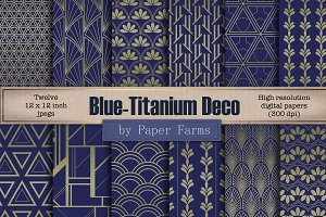 Blue-titanium Art Deco patterns