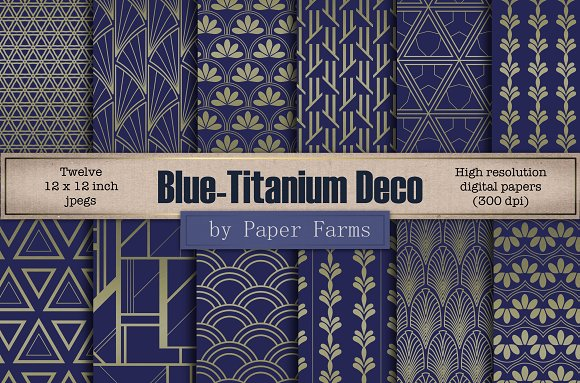 Blue-titanium Art Deco Patterns