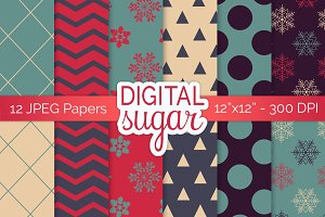 Christmas Digital Papers, Xmas