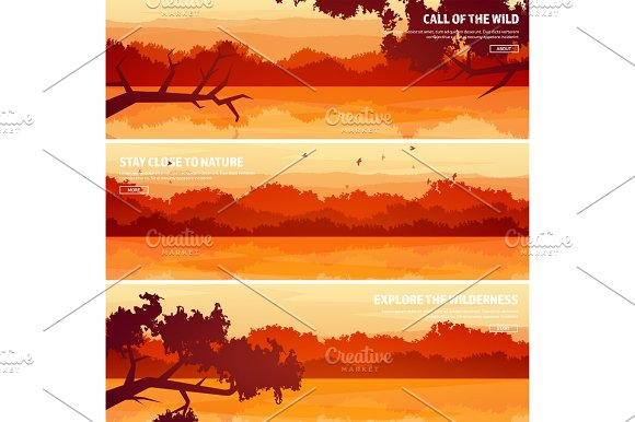 Mountains With Forest And Lake River Trees Horizon Line Vector Landscape.Panorama Travel And Adventure.Nature.Wood Wildlife Pine Tree