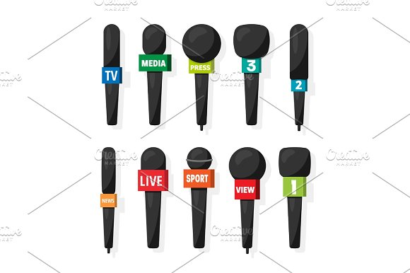 Microphone,reporter equipment. Mass media, television show. Tv.Audio conference. Interview. Broadcasting, communication. Flat style. Studio. Sound or music.Set. in Objects