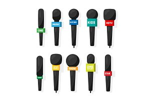 Microphone,reporter equipment. Mass media, television show. Tv.Audio conference. Interview. Broadcasting, communication. Flat style. Studio. Sound or music.Set.