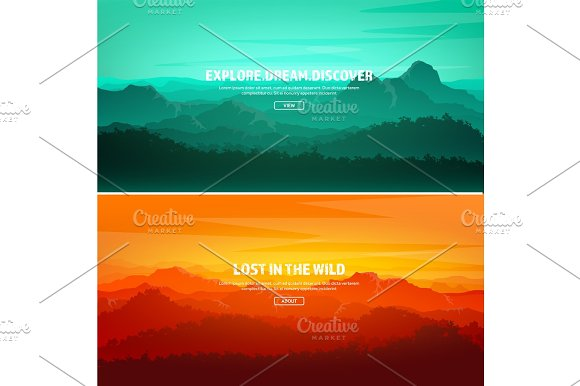 Mountains And Forest Wild Nature Landscape Travel And Adventure.Panorama Into The Woods Horizon Line.Trees Fog Wood.Backgrounds Se