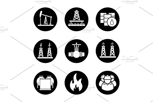 Oil Industry 9 Icons Vector