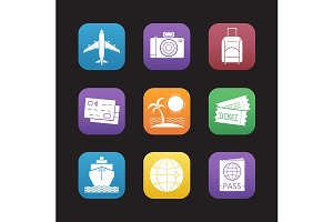 Travel and tourism. 9 icons. Vector