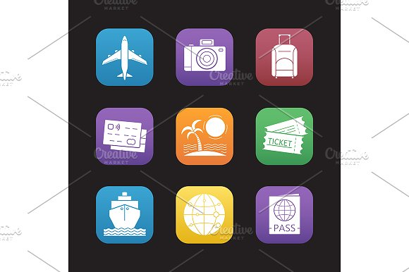 Travel And Tourism 9 Icons Vector