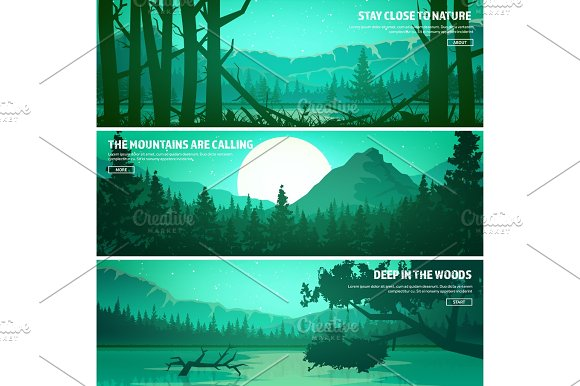 Mountains And Forest Wild Nature Landscape Travel And Adventure.Panorama Into The Woods Horizon Line.Trees Fog Wildlife.Lake River