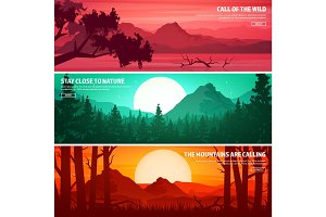 Mountains and forest. Wild nature landscape. Travel and adventure.Panorama. Into the woods. Horizon line.Trees,fog. Wildlife.