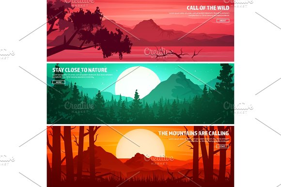 Mountains And Forest Wild Nature Landscape Travel And Adventure.Panorama Into The Woods Horizon Line.Trees Fog Wildlife